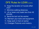 dfe rules for lean cont d