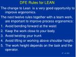 dfe rules for lean