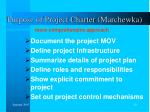 purpose of project charter marchewka