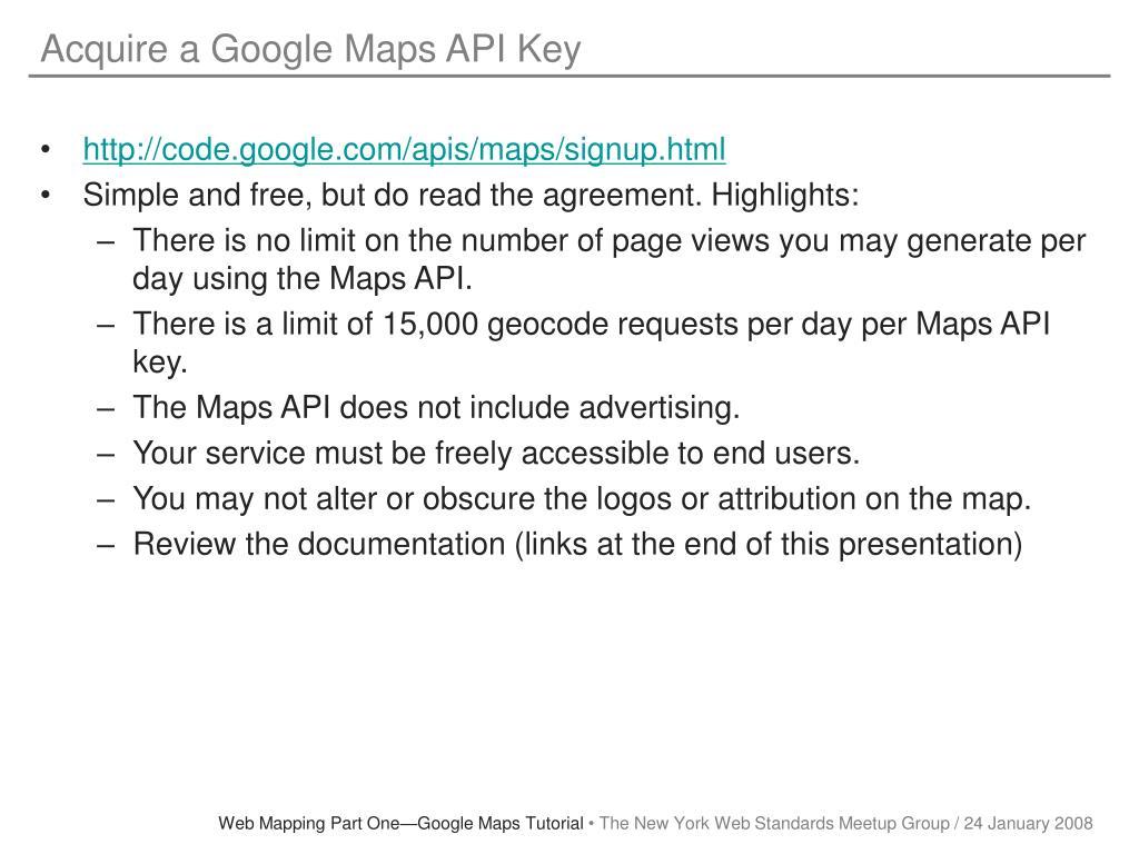 Acquire a Google Maps API Key