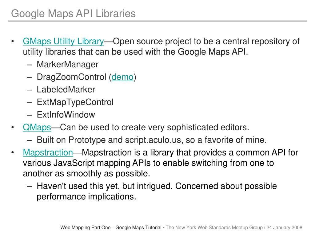 Google Maps API Libraries