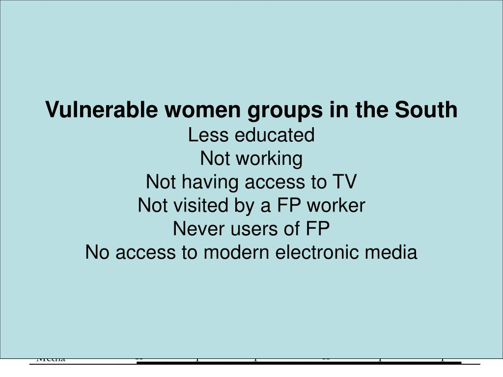 Vulnerable women groups in the South