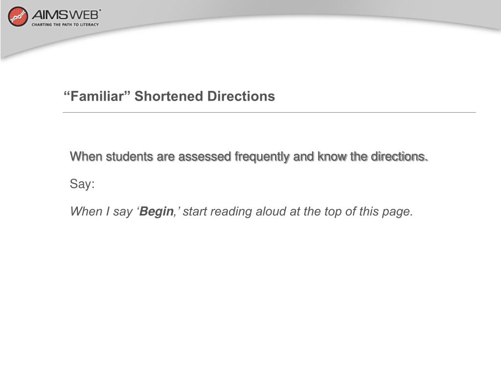 """Familiar"" Shortened Directions"