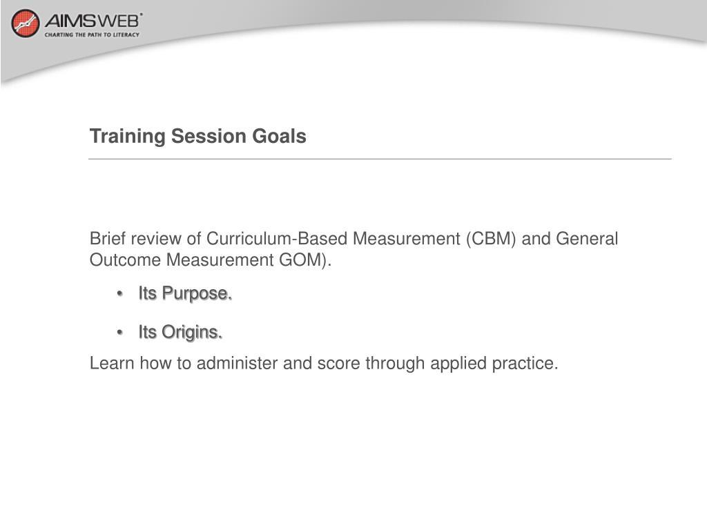 Training Session Goals