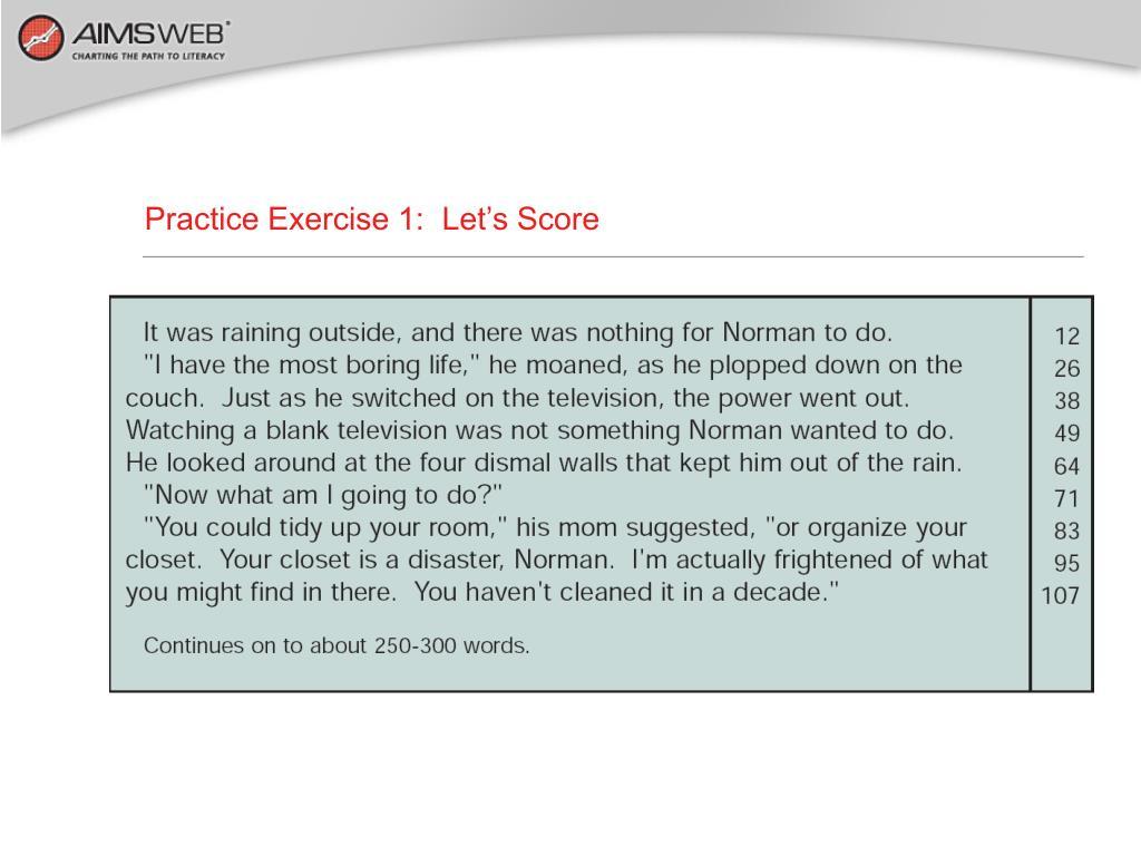Practice Exercise 1:  Let's Score