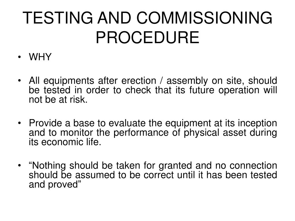 testing and commissioning procedure l.