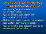 liturgias e sacramentos na semana mission ria