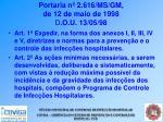portaria n 2 616 ms gm de 12 de maio de 1998 d o u 13 05 98