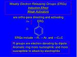 weakly electron releasing groups ergs inductive effect weak activators
