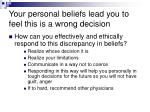 your personal beliefs lead you to feel this is a wrong decision