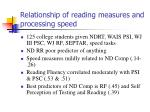 relationship of reading measures and processing speed