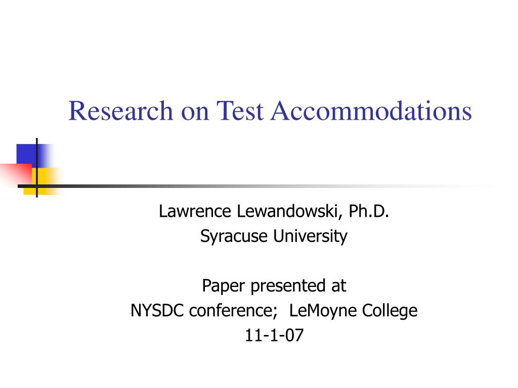 research on test accommodations l.
