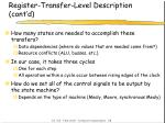 register transfer level description cont d