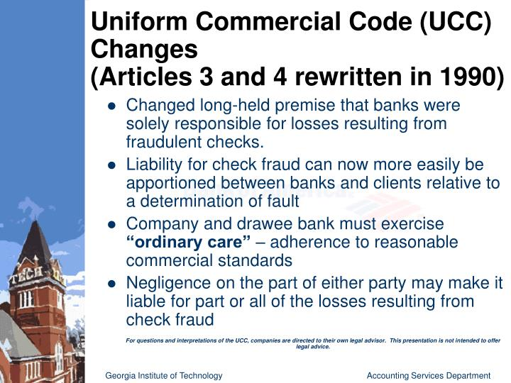 """uniform commercial code Before you enter into transactions involving the sale of goods, make sure you know the basics about the uniform commercial code (the """"ucc"""") the ucc is a comprehensive set of rules governing the sale of goods and other commercial transactions."""