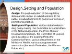 design setting and population
