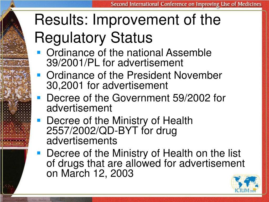 Results: Improvement of the Regulatory Status