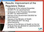 results improvement of the regulatory status