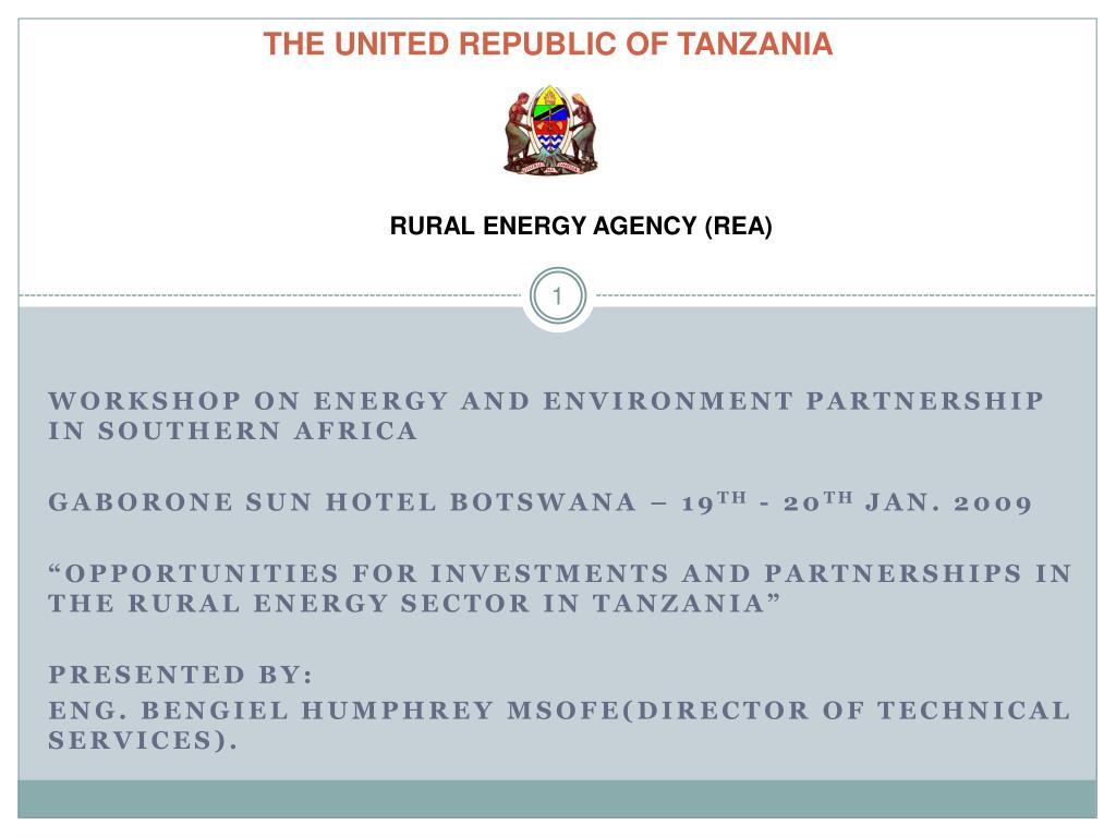 the united republic of tanzania l.