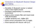 conclusions on bluetooth receiver design and testing