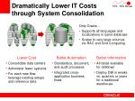 dramatically lower it costs through system consolidation
