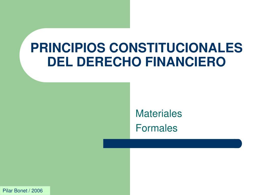 principios constitucionales del derecho financiero l.