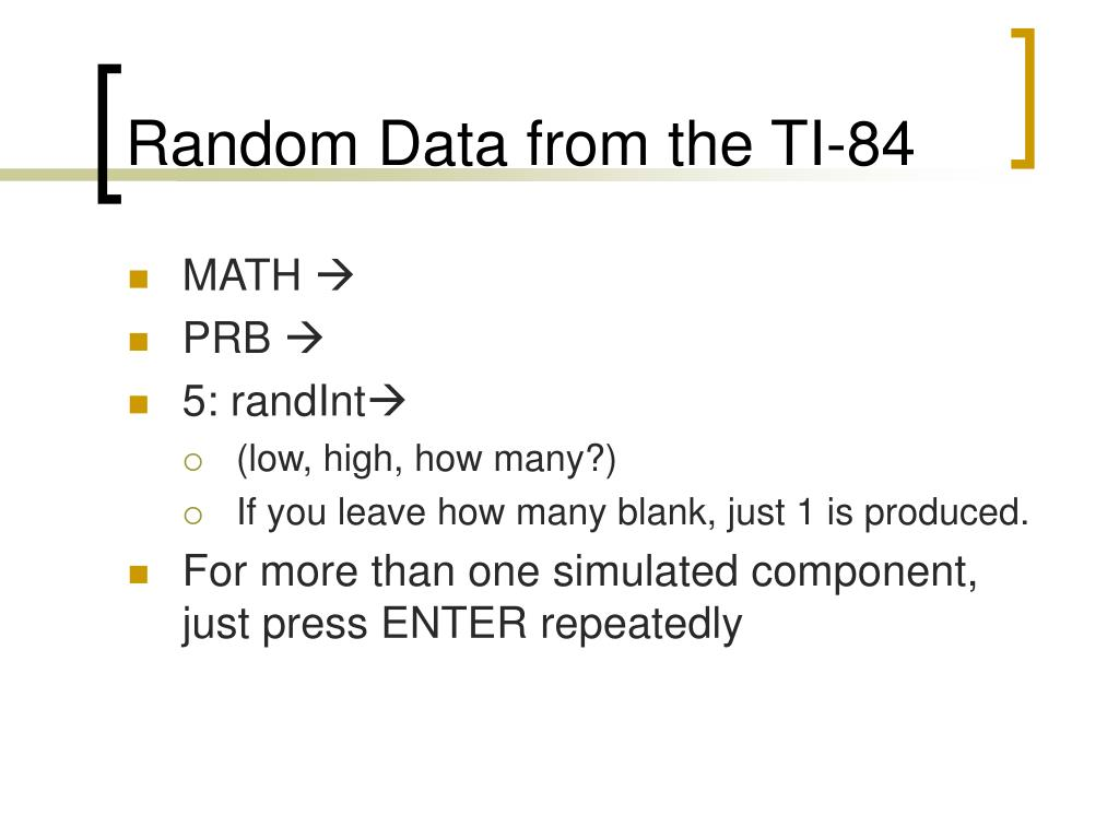 Random Data from the TI-84