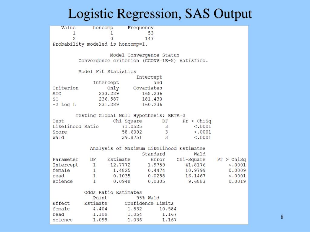 sas logistic regression Logistic regression models using sas - free download as word doc (doc), pdf file (pdf), text file (txt) or read online for free.