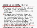 social vs sociality p 76