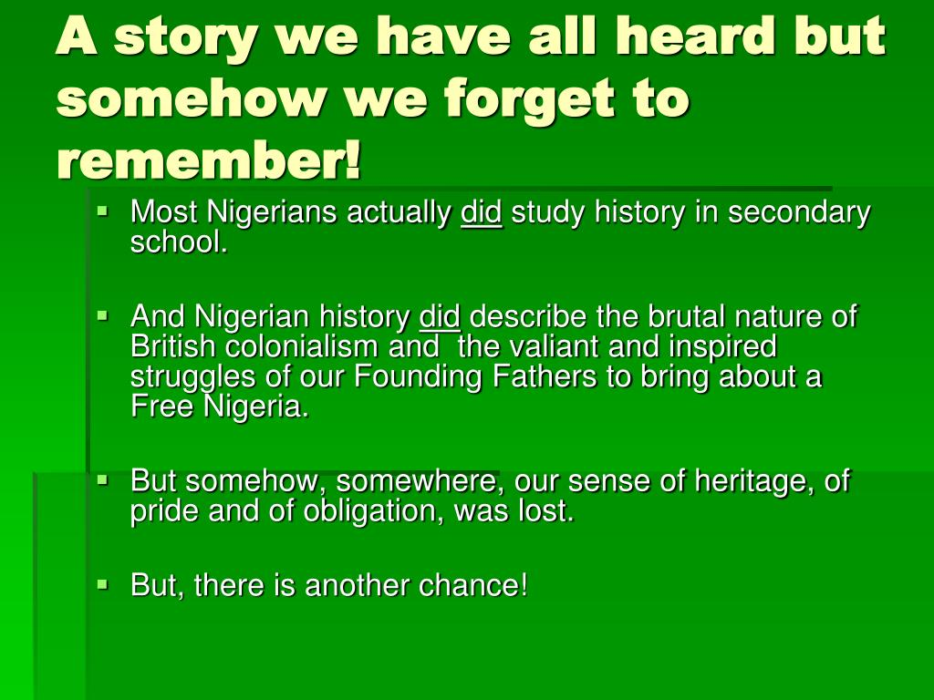 A story we have all heard but somehow we forget to remember!