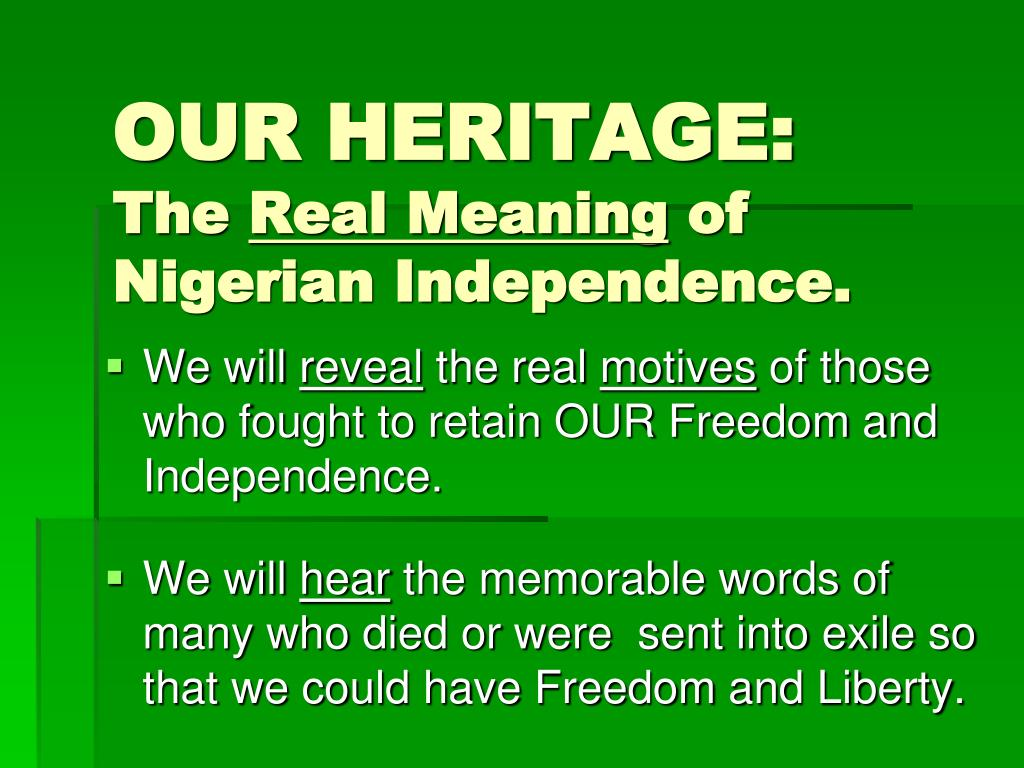 OUR HERITAGE: