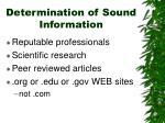 determination of sound information