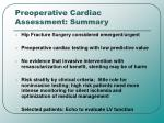 preoperative cardiac assessment summary