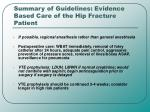 summary of guidelines evidence based care of the hip fracture patient
