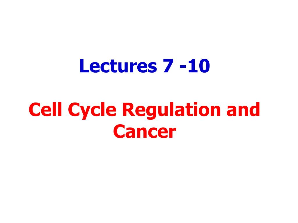 lectures 7 10 cell cycle regulation and cancer l.