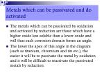 metals which can be passivated and de activated