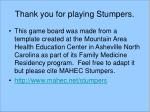 thank you for playing stumpers