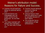 weiner s attribution model reasons for failure and success