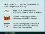 how might fctc policies be relevant to diet and physical activity