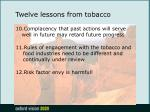 twelve lessons from tobacco19