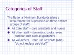 categories of staff