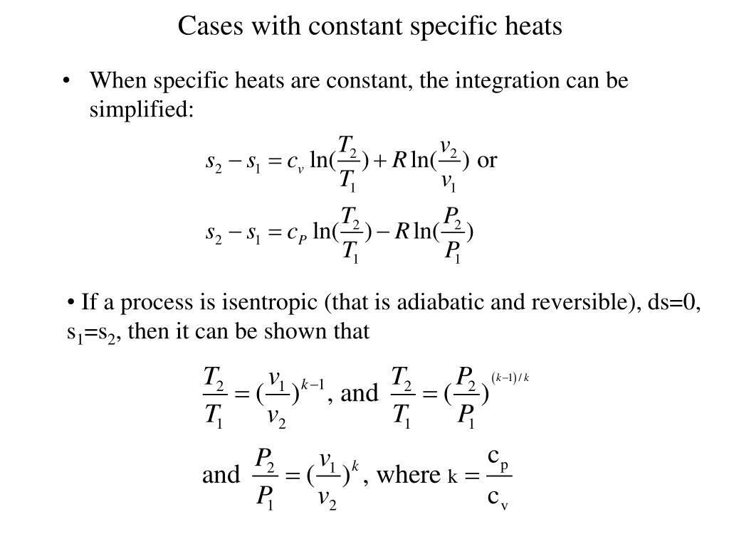 Cases with constant specific heats