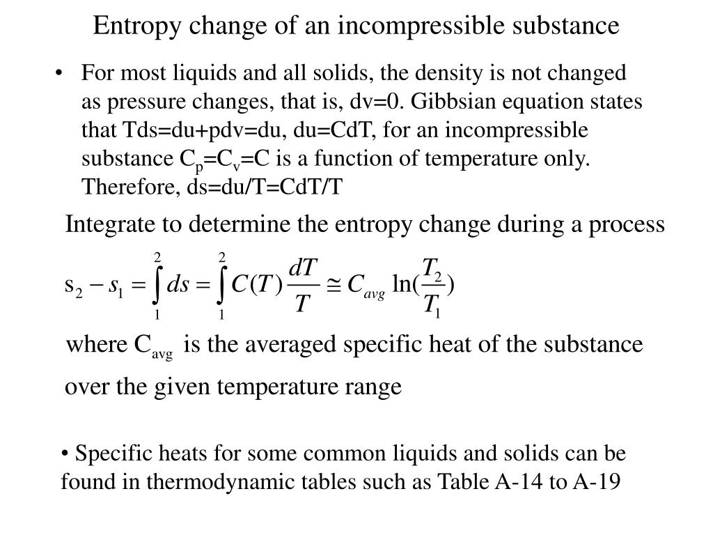 Entropy change of an incompressible substance