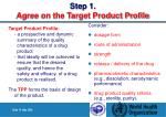 step 1 agree on the target product profile