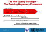 the new quality paradigm the evolving regulatory framework