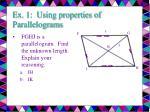ex 1 using properties of parallelograms