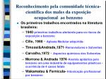 reconhecimento pela comunidade t cnica cient fica dos males da exposi o ocupacional ao benzeno