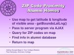 zip code proximity alumni homes