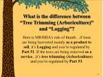 what is the difference between tree trimming arboriculture and logging