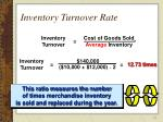 inventory turnover rate
