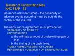 transfer of underwriting risk naic ssap 62